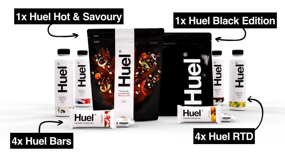 Huel bars, Huel ready to drink bottles, Huel black edition puch, and a Huel hot and savoury puch